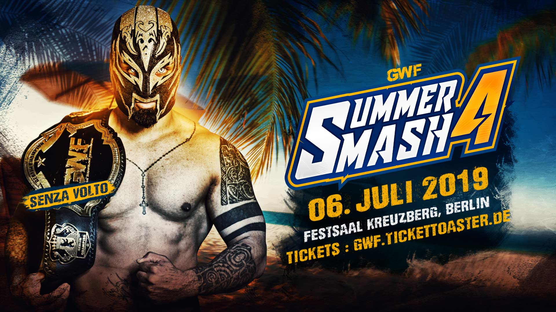 GWF Berlin Champion Senza Volto ist am 6. Juli 2018 im Festsaal Kreuzberg dabei! Verpasst auf keinen Fall GWF Summer Smash 4, actionreiches Wrestling in Berlin